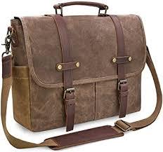 Mens Messenger Bag 15.6 Inch Waterproof <b>Vintage Genuine</b> ...