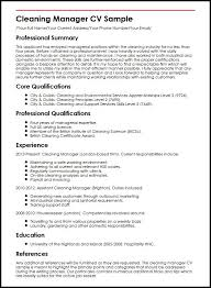 cleaning manager cv sample   curriculum vitae buildercleaning manager cv sample