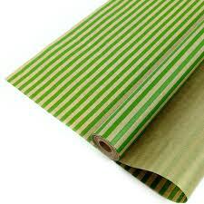 <b>Упаковочная бумага</b>, Крафт (<b>0</b>,<b>7</b>*<b>10 м</b>) Полосы, Зеленый, 1 шт ...