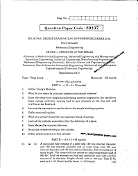 ce strength of materials recent question paper ce6306 strength of materials 0