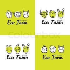 Vector set of <b>cute eco</b> farm logos in ...   Stock vector   Colourbox