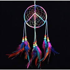 Peace sign Colorful <b>Handmade Indian Style</b> Real Feathers Dream ...