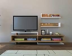 LaModaHome <b>Tv</b> Stand Unit - Dark Brown <b>White Wooden</b> Functional ...