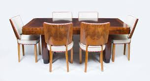 antique art deco walnut rosewood dining table 6 chairs art deco rosewood dining