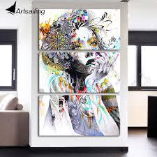 <b>HD</b> spray <b>print 3 Piece</b> canvas art abstract watercolor girl face flower ...