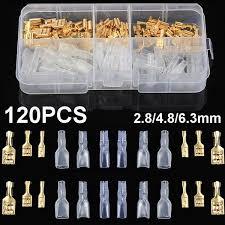 <b>120PCS 2.8</b>/<b>4.8</b>/<b>6.3</b>mm Insulated Female Spade Crimp Terminal ...