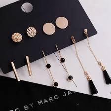 5 pairs/<b>set</b> tassel <b>round stud</b> earrings <b>set</b> trendy mixed black acrylic ...