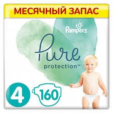 <b>Pampers Подгузники Pure Protection</b> р.4 (9-14 кг) 160 шт ...
