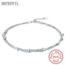 <b>New Arrivals 925</b> Sterling <b>Silver</b> Anklet Woman Charm 3mm Beads ...