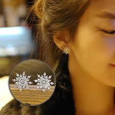 Jewelry Silver <b>Stud Snowflake</b> Earrings <b>Fashion</b> Women Golde Crystal