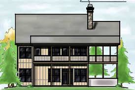 Narrow Lot House Plan for Lake Lots   Max Fulbright Designsnarrow lot house plan   screened porch sloping