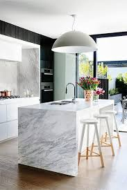 marble island kitchen modern interior designs