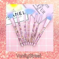 Liquid <b>Glitter 7 Piece</b> Brush Set + <b>Glitter</b> Pouch | Shopee Singapore