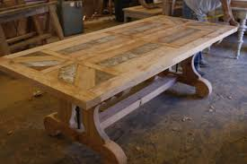 custom made custom trestle dining table with leaf extensions built in reclaimed wood awesome custom reclaimed wood office desk