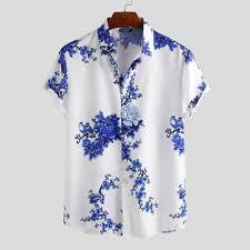 <b>men</b> porcelain <b>floral</b> print short sleeve relaxed <b>shirts</b> at Banggood