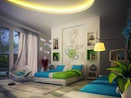 master bedroom feature wall:  green blue white contemporary bedroom decor