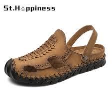 New <b>Summer Men's</b> Leather <b>Sandals Outdoor</b> Non slip Flat Wading ...
