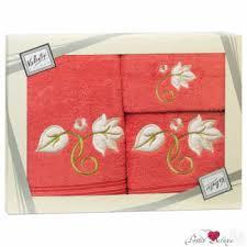 Купить <b>Valentini Полотенце Flower</b> Цвет: Малиновый (Набор) в ...