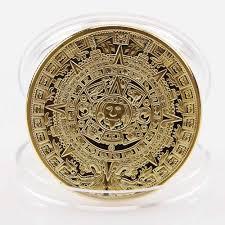 <b>1x</b> Gold Sliver Plated <b>Mayan Aztec Calendar</b> Souvenir ...