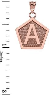 LA BLINGZ 10K <b>Rose Gold</b> Letter U Initial <b>Pentagon</b> Pendant ...