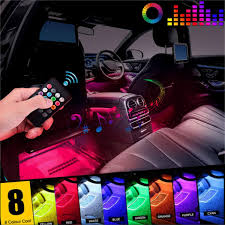 4PCS 12 <b>LED Car</b> Decorative RGB <b>Lights</b> Interior <b>Foot</b> Mood <b>Light</b> ...