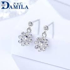 Damela <b>S925 pure</b> silver ear nail <b>female</b> fashion Korean light luxury ...