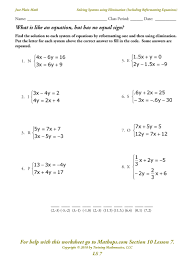LS 7: Solving Systems using Elimination (including reformatting ...