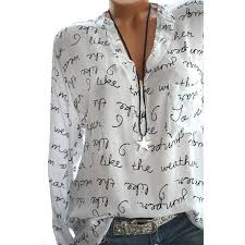 <b>Yfashion</b> Women Casual Shirt <b>V Neck</b> Letters Print <b>Long</b> Sleeve ...
