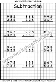 Subtraction – No Regrouping / FREE Printable Worksheets – Worksheetfun3 Digit Subtraction – No Regrouping – Three Worksheets