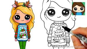 How to Draw a <b>Cute Girl</b> in <b>Christmas</b> Ugly Sweater - YouTube