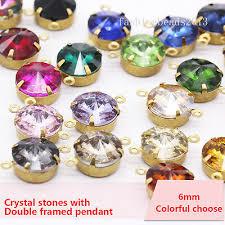 20p 6mm round Vintage crystal 2hole pendants rhinestones ...