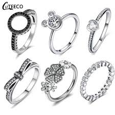 <b>CUTEECO Dropshipping</b> Silver Color Clear CZ Wedding Ring Fit ...
