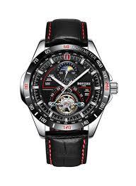Shop <b>BOYZHE Men's</b> Leather <b>Automatic Mechanical</b> Analog Wrist ...