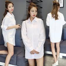 <b>Korean</b> Style <b>Women White Cotton</b> Shirt <b>Female</b> Plus Size Long ...