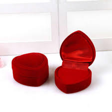 Mini Cute Red Carrying Cases Foldable Red <b>Heart Shaped</b> Ring ...