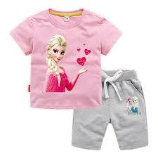 Child Girl Frozen <b>Disney 100</b>% <b>Cotton</b> T shirt Shorts Set Summer ...