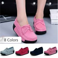 8 Colors Size 35-40 <b>Women Casual</b> Suede Leather Walking <b>Shoes</b> ...