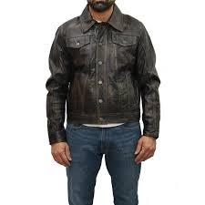 <b>Mens</b> Brown Tan <b>Soft</b> Suede <b>Leather</b> Denim Style Western Trucker ...