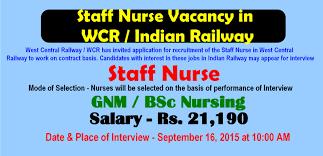 nurses job vacancy staff nurse vacancy in wcr n railway  staff nurse vacancy in wcr n railway 2015