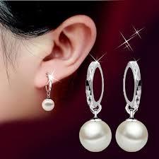 <b>Fashion</b> Ladies 925 sterling Silver Freshwater Peal <b>Dangle</b> Ear stud ...