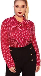 ROMWE Women's <b>Plus Size</b> Bow Tie Neck Polka Dots <b>Lantern</b> Long ...
