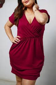 V-neck <b>Solid Color Large Size</b> Dress   Red dress maxi, Dresses ...