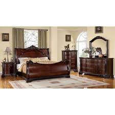 furniture of america luxury brown cherry 4 piece baroque style bedroom set bedroom furniture set