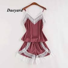<b>Daeyard Silk Pajamas For</b> Women With Shorts Sexy Lingerie Lace ...