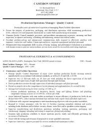 resume sample for production operations lamps manufacturingproduction operations manager   qc resume sample