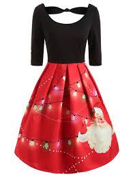 Wipalo <b>Christmas Santa Print</b> Vintage Party Dress Women O Neck ...