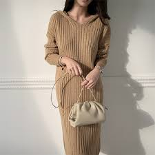 Solid Knitting Straight Warm <b>Korean</b> Style Casual <b>Sweater Dress</b> ...