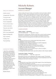Account manager CV template  sample  job description  resume     Dayjob