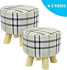 Jerry & Maggie - <b>2 Pieces</b> Footstool Fabric Ottomans Cute <b>Bench</b> ...