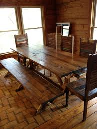 Kitchen Table With Benches Set Dining Room Country Rustic Wood Dining Room Sets Rustic Farmhouse